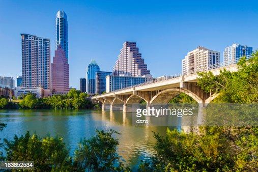 Austin Texas skyline and Congress Avenue Bridge over Ladybird Lake