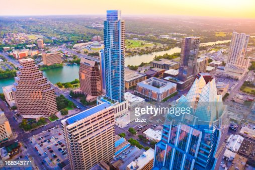 Austin Texas skyscrapers at sunset from helicopter