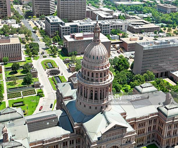 Austin Texas State Capitol Aerial and city