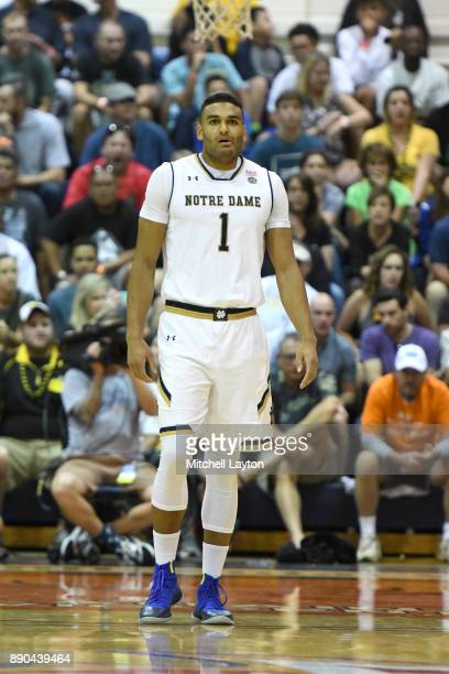 Austin Torres of the Notre Dame Fighting Irish looks on during a the championship of the Maui Invitational college basketball game against the...