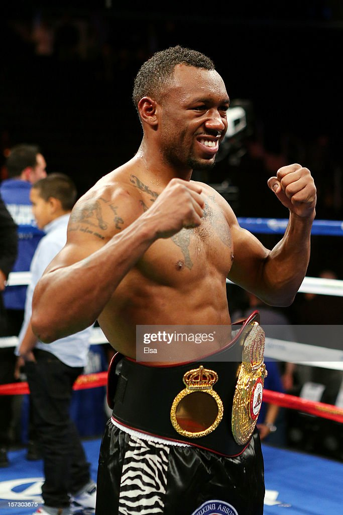 Austin Trout celebrates with the belt after defeating Miguel Cotto to retain his WBA Super Welterweight Championship title at Madison Square Garden on December 1, 2012 in New York City.