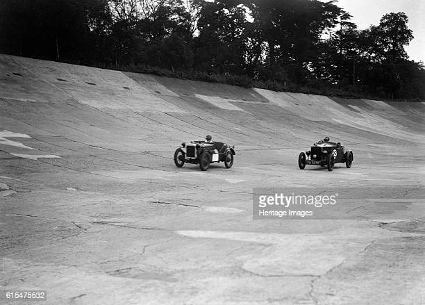 Austin Ulster leading a Windsor on the banking at Brooklands Centre Austin Ulster 747 cc Right Windsor Vehicle Reg No PH3249 Event Entry No 23 Place...