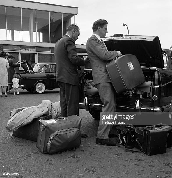 Austin Westminster and DAF 750 at the port of Rotterdam Netherlands 1963 In a photograph taken for Dermide Ltd who made the materials for travel bags...