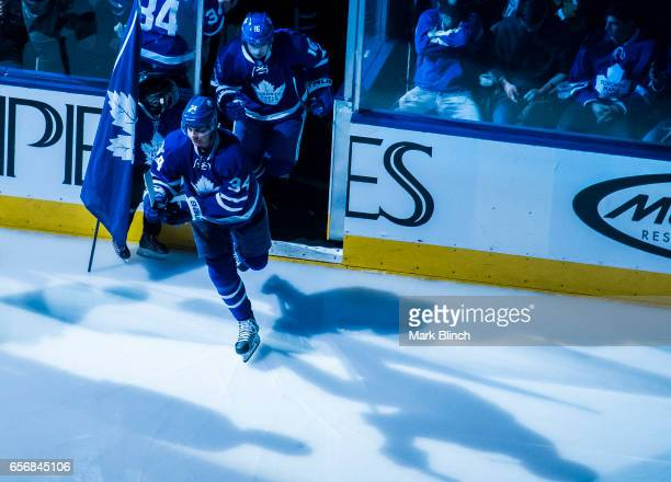 Auston Matthews and Mitch Marner of the Toronto Maple Leafs take the ice prior to the game against the Boston Bruins at the Air Canada Centre on...