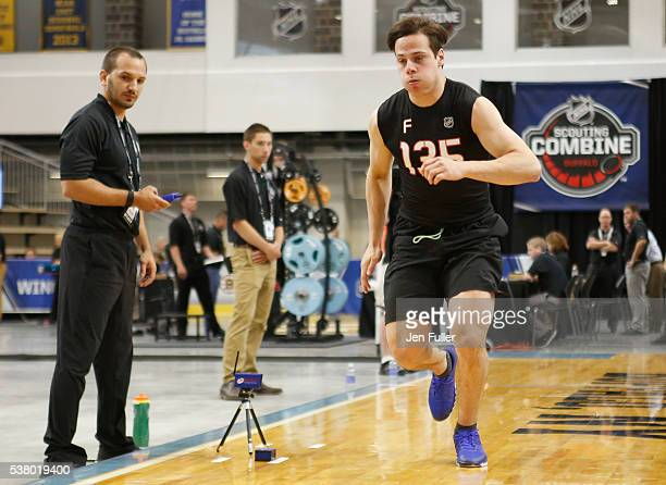 Auston Matthews does the Pro Agility test during the NHL Combine at HarborCenter on June 4 2016 in Buffalo New York