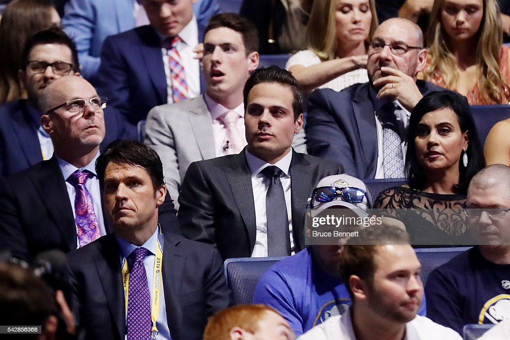 Auston Matthews looks on during round one of the 2016 NHL Draft on June 24, 2016 in Buffalo, New York.