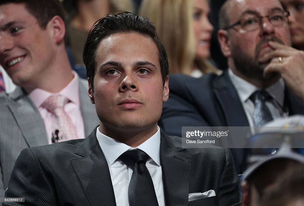 <a gi-track='captionPersonalityLinkClicked' href=/galleries/search?phrase=Auston+Matthews&family=editorial&specificpeople=13452736 ng-click='$event.stopPropagation()'>Auston Matthews</a> looks on prior to being selected first overal by the Toronto Maple Leafs during round one of the 2016 NHL Draft at First Niagara Center on June 24, 2016 in Buffalo, New York.