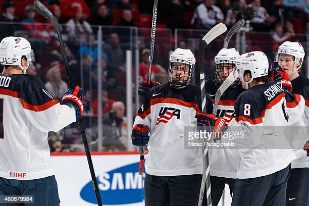 Auston Matthews of Team United States celebrates his goal with teammates during the 2015 IIHF World Junior Hockey Championship game against Team...