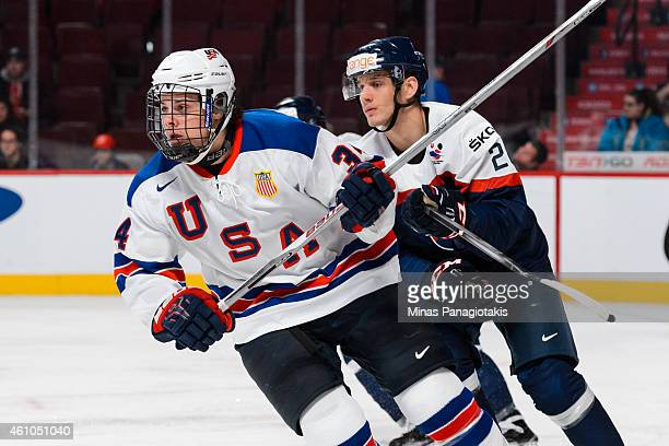 Auston Matthews of Team United States skates during the 2015 IIHF World Junior Hockey Championship game against Team Slovakia at the Bell Centre on...