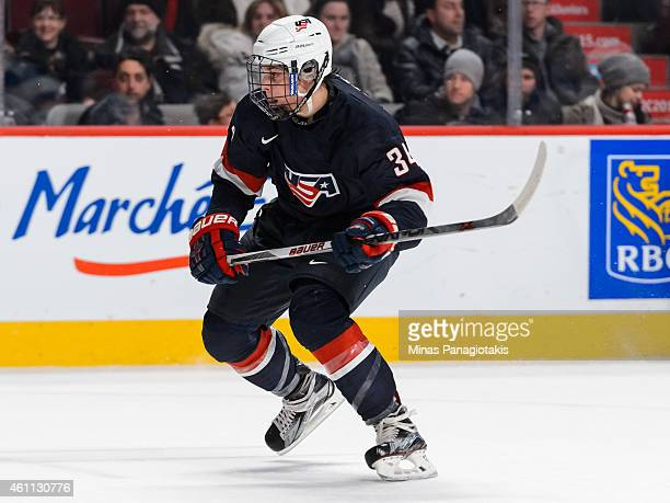 Auston Matthews of Team United States skates in a quarterfinal round during the 2015 IIHF World Junior Hockey Championships against Team Russia at...