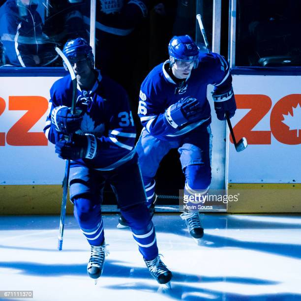 Auston Matthews of the Toronto Maple Leafs and Mitch Marner during the pregame ceremonies before puck drop at Game Four of the Eastern Conference...