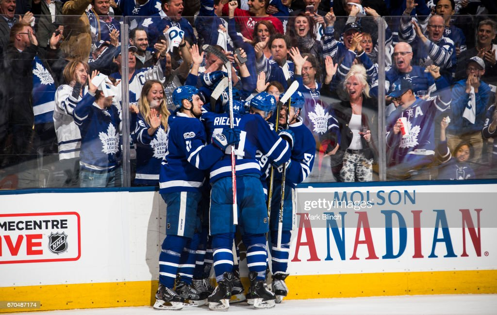 Auston Matthews #34 of the Toronto Maple Leafs celebrates his goal with teammates Zach Hyman #11, William Nylander #29, Morgan Rielly #44 and Jake Gardiner #51 against the Washington Capitals during the first period in Game Three of the Eastern Conference First Round during the 2017 NHL Stanley Cup Playoffs at the Air Canada Centre on April 17, 2017 in Toronto, Ontario, Canada.