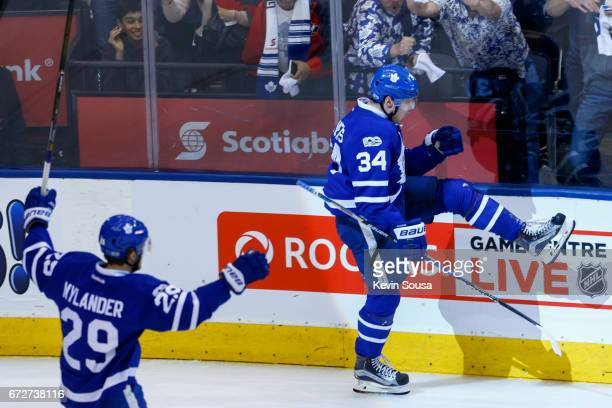 Auston Matthews of the Toronto Maple Leafs celebrates scoring against the Washington Capitals during the third period in Game Six of the Eastern...