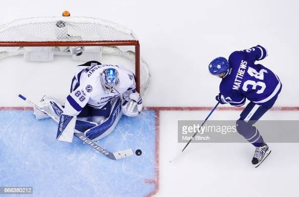 Auston Matthews of the Toronto Maple Leafs goes to the net against Andrei Vasilevskiy of the Tampa Bay Lightning during the second period at the Air...