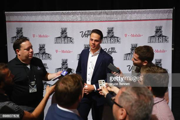 Auston Matthews of the Toronto Maple Leafs is interviewed during media availability for the 2017 NHL Awards at Encore Las Vegas on June 20 2017 in...
