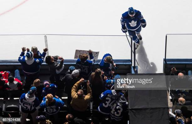 Auston Matthews of the Toronto Maple Leafs leaves the during warm up prior to the game against the New Jersey Devils during the first period at the...