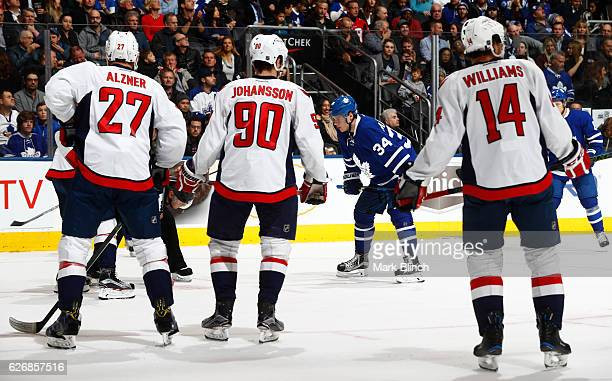 Auston Matthews of the Toronto Maple Leafs readies for the face off against the Washington Capitals during the first period at the Air Canada Centre...