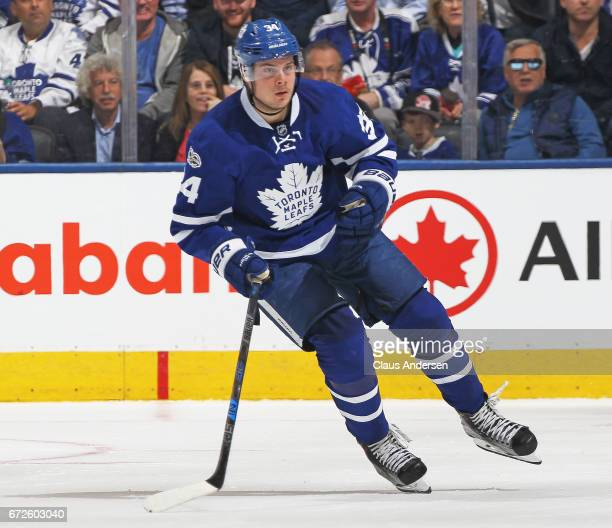Auston Matthews of the Toronto Maple Leafs skates against the Washington Capitals in Game Six of the Eastern Conference Quarterfinals during the 2017...