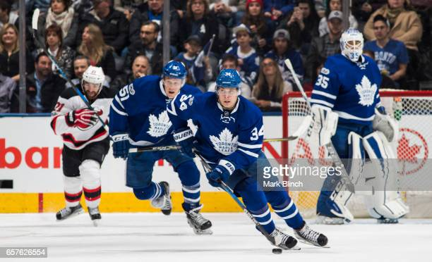 Auston Matthews of the Toronto Maple Leafs skates against the New Jersey Devils during the first period at the Air Canada Centre on March 23 2017 in...