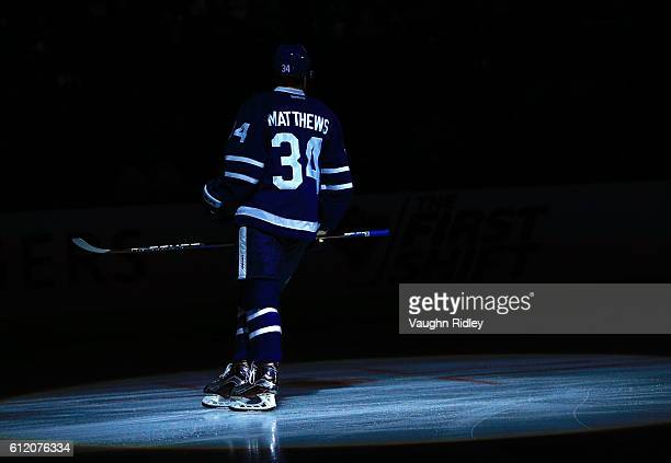 Auston Matthews of the Toronto Maple Leafs skates prior to an NHL preseason game against the Montreal Canadiens at Air Canada Centre on October 2...