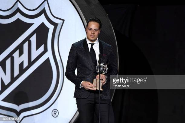 Auston Matthews of the Toronto Maple Leafs speaks after winning the Calder Memorial Trophy during the 2017 NHL Awards and Expansion Draft at TMobile...