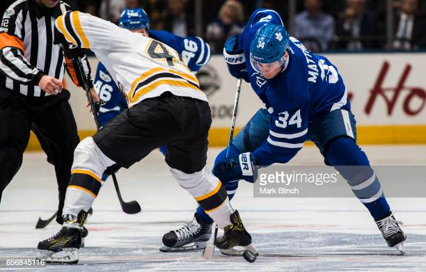 Auston Matthews of the Toronto Maple Leafs takes a face off against the Boston Bruins during the first period at the Air Canada Centre on March 20...