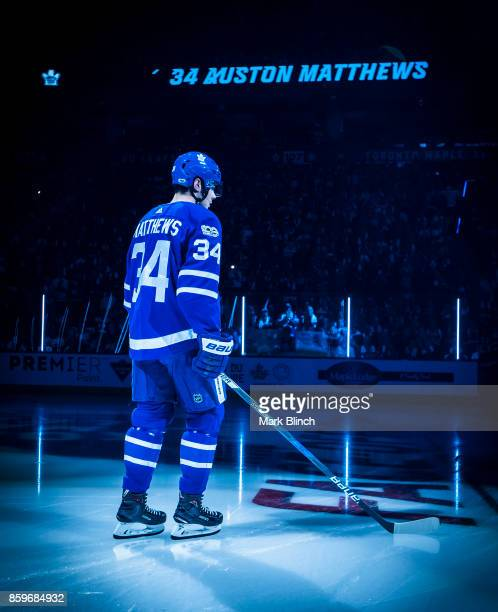 Auston Matthews of the Toronto Maple Leafs takes the ice during player introductions during opening night before play against the New York Rangers...
