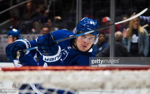 Auston Matthews of the Toronto Maple Leafs warms up before the Leafs face the Arizona Coyotes at the Air Canada Centre on November 20 2017 in Toronto...