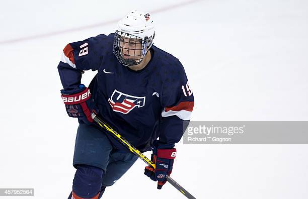 Auston Matthews of the US National Under18 Team skates during exhibition NCAA hockey against the Providence College Friars at Schneider Arena on...