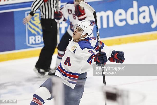 Auston Matthews of USA celebrates after scoring 30 during the 2016 IIHF World Junior Ice Hockey Championship quarterfinal match between USA and Czech...