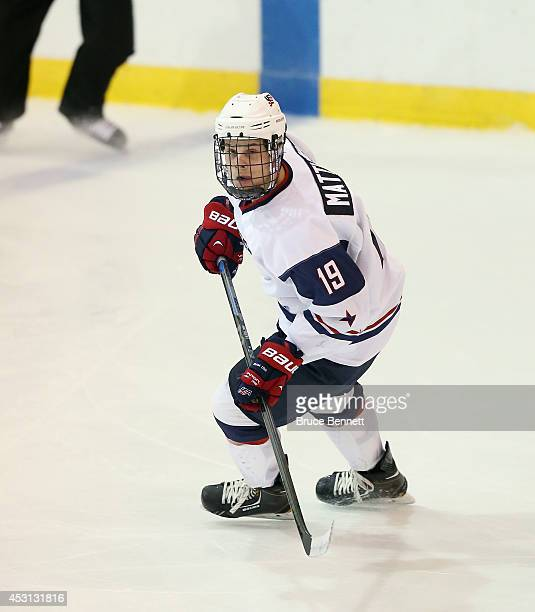 Auston Matthews of USA White skates against Team Sweden during the 2014 USA Hockey Junior Evaluation Camp at the Lake Placid Olympic Center on August...