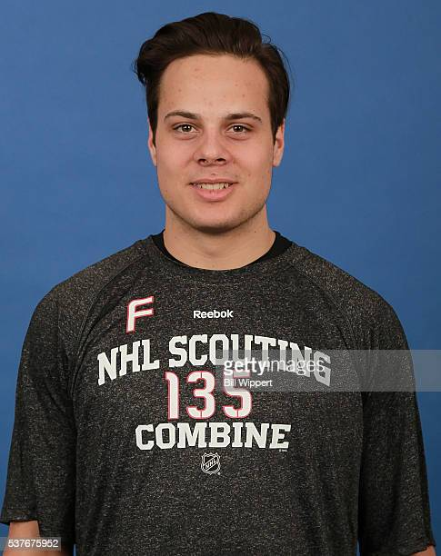 Auston Matthews poses for a headshot at the 2016 NHL Combine on June 2 2016 at Harborcenter in Buffalo New York