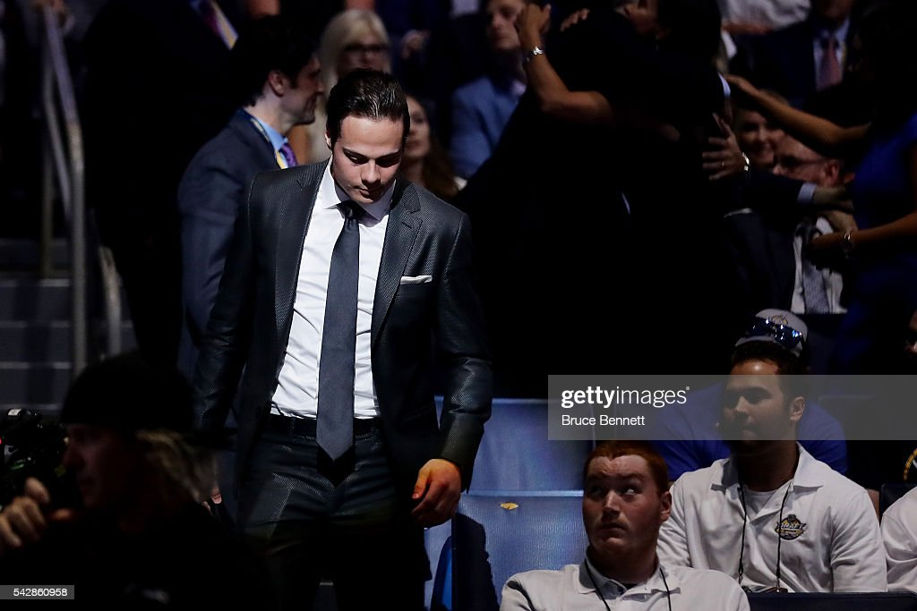 Auston Matthews reacts after being selected first overall by the Toronto Maple Leafs during round one of the 2016 NHL Draft on June 24, 2016 in Buffalo, New York.