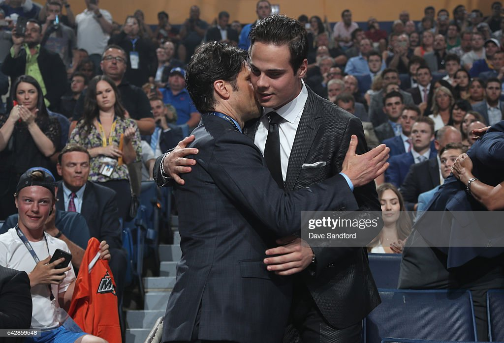 <a gi-track='captionPersonalityLinkClicked' href=/galleries/search?phrase=Auston+Matthews&family=editorial&specificpeople=13452736 ng-click='$event.stopPropagation()'>Auston Matthews</a>, right, hugs agent Pat Brisson after being selected first overall by the Toronto Maple Leafs in the 2016 NHL Draft at First Niagara Center on June 24, 2016 in Buffalo, New York.