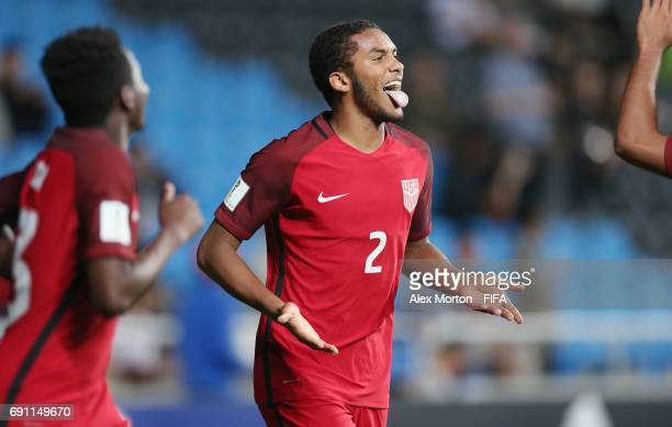 Auston Trusty of USA celebrates after scoring their fifth goal during the FIFA U20 World Cup Korea Republic 2017 Round of 16 match between USA and...