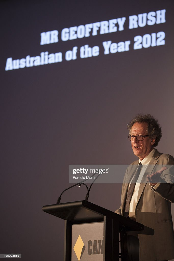 Australain of the Year <a gi-track='captionPersonalityLinkClicked' href=/galleries/search?phrase=Geoffrey+Rush&family=editorial&specificpeople=201849 ng-click='$event.stopPropagation()'>Geoffrey Rush</a> speaks at the 2013 Australian of the Year finalist lunch at the National Gallery of Australia on January 25, 2013 in Canberra, Australia. .