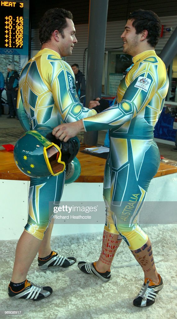 Australia 1 with Christopher Spring and Anthony Ryan of Australia celebrate after the TwoMan Bobsleigh Heat 3 on day 10 of the 2010 Vancouver Winter...