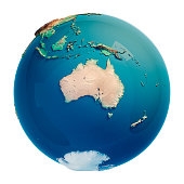Australia 3D Render of the Planet Earth. Made with Natural Earth. URL of source data: http://www.naturalearthdata.com