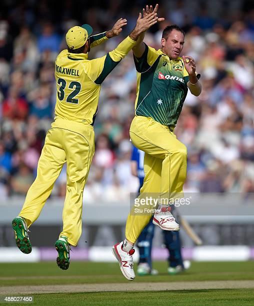 Australia and Durham seamer John Hastings celebrates after dismissinmg England batsman James Taylor during the 5th Royal London OneDay International...