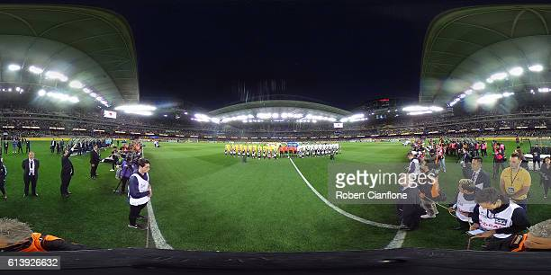 Australia and Japan line up prior the 2018 FIFA World Cup Qualifier match between the Australian Socceroos and Japan at Etihad Stadium on October 11...