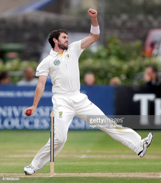 Australia A's Chadd Sayers in bowling action against Gloucestershire