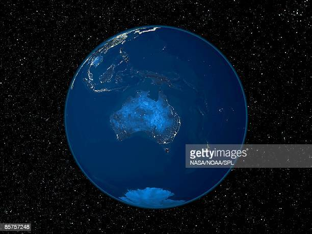 Australia at night, satellite image of the Earth at night