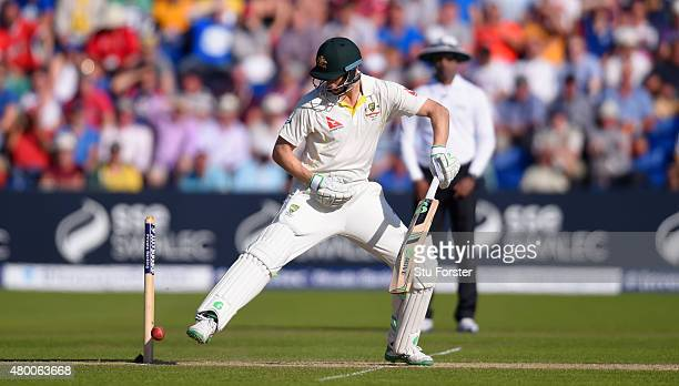 Australia batsman Adam Voges kicks the ball away from the stumps during day two of the 1st Investec Ashes Test match between England and Australia at...