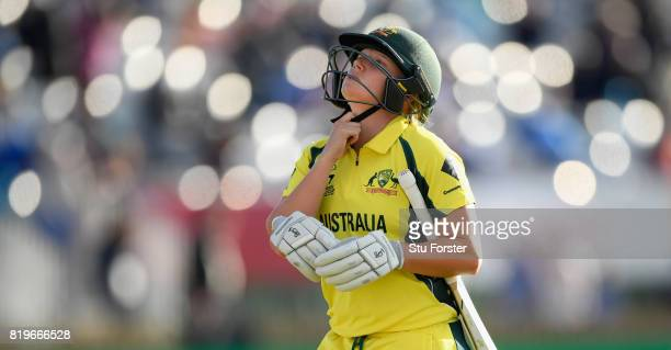 Australia batsman Alyssa Healy reacts after being dismissed during the ICC Women's World Cup 2017 SemiFinal match between Australia and India at The...