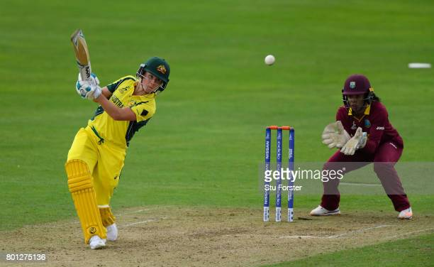 Australia batsman Beth Mooney hits out during the ICC Women's World Cup 2017 match between Australia and West Indies at The Cooper Associates County...
