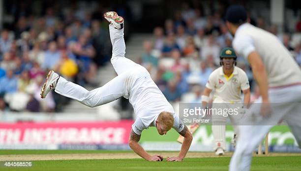 Australia batsman David Warner looks on as England bowler Ben Stokes fields off his own bowling during day one of the 5th Investec Ashes Test match...
