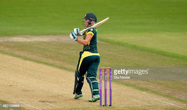 Australia batsman Elyse Villani pulls a ball to the boundary during the 3rd Royal London ODI of the Women's Ashes Series between England and...