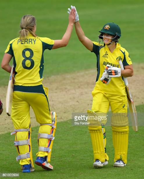 Australia batsman Nicole Bolton and Ellyse Perry celebrate victory during the ICC Women's World Cup 2017 match between Australia and West Indies at...