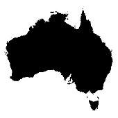 Australia Black Silhouette Map Outline Isolated on White 3D Illustration