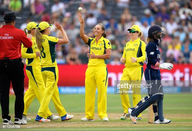 Australia bowler Ashleigh Gardner with the ball after catching Tammy Beaumont off her own bowling for 49 during the ICC Women's World Cup 2017 match...